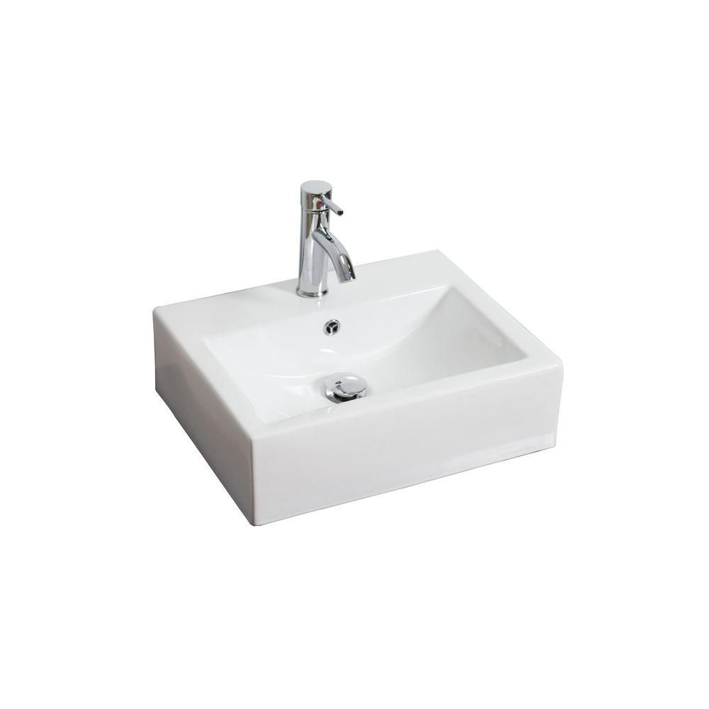 American Imaginations Rectangular Ceramic Vessel Sink in White