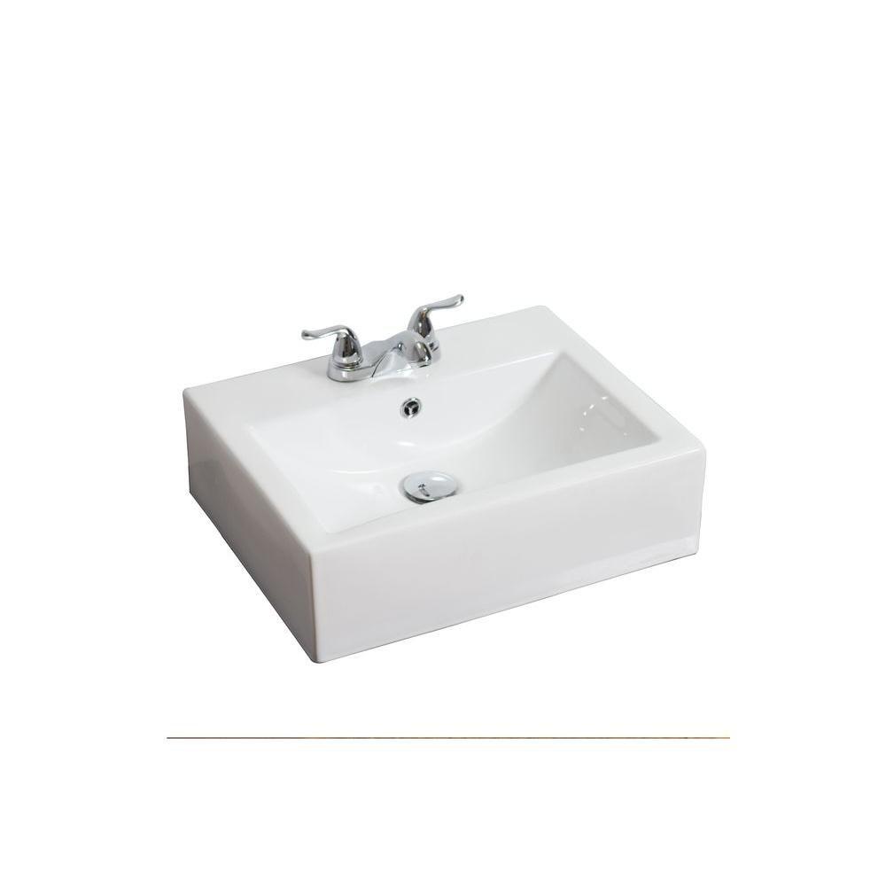 Ci-dessus contre Rectangle Blanc Vase en céramique avec 4 po. oc robinet forage