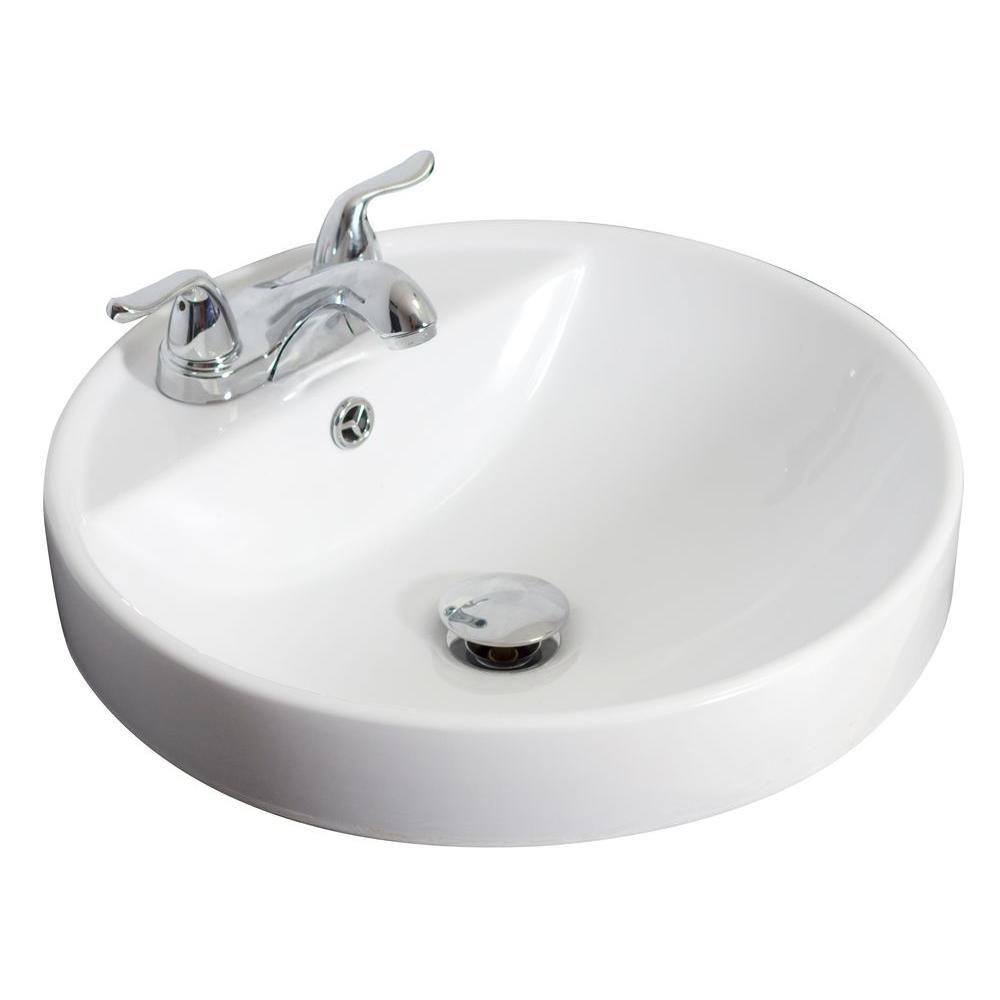 Drop-in rond blanc Vase en céramique avec 4 po. oc robinet forage