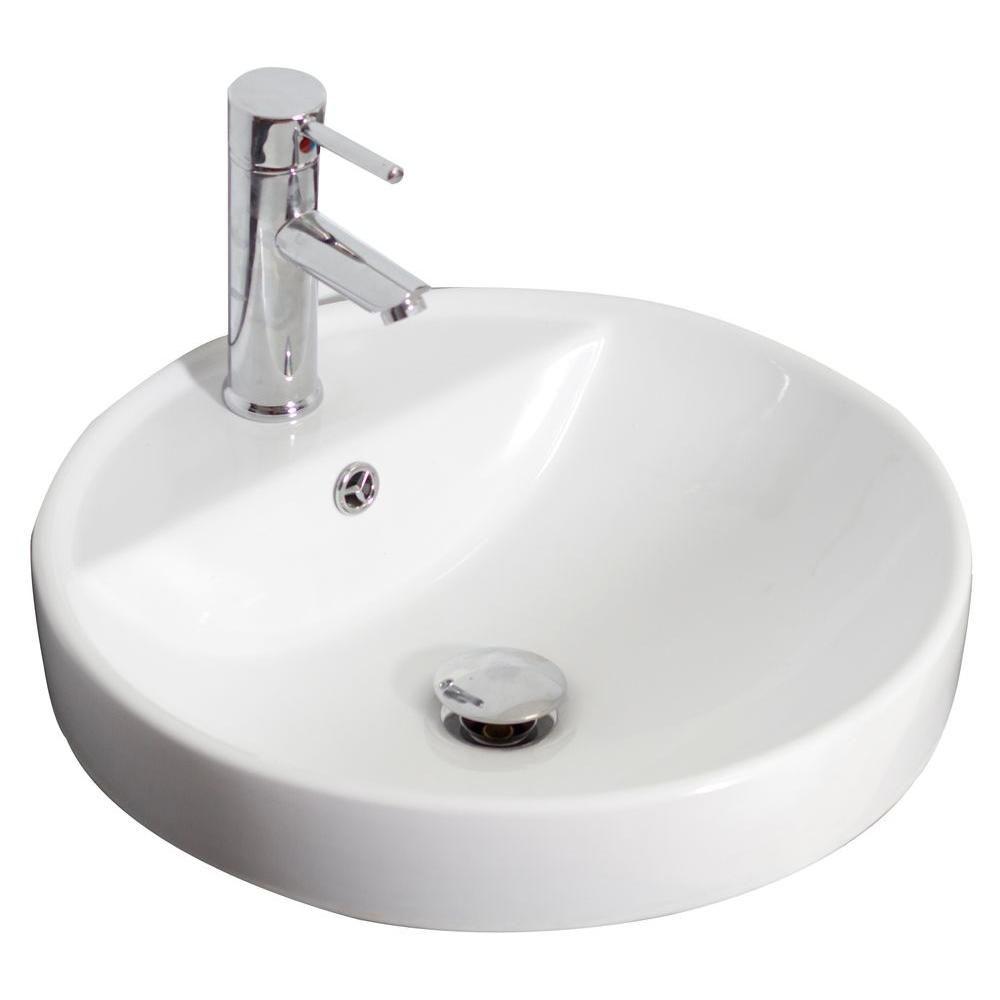 Drop-in Round Ceramic Vessel Sink in White