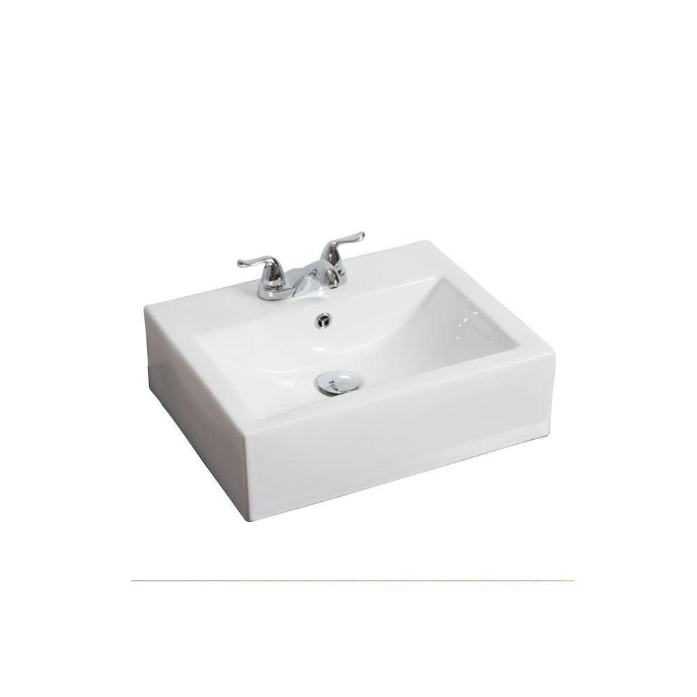 Wall-Mount Rectangular Ceramic Vessel Sink in White