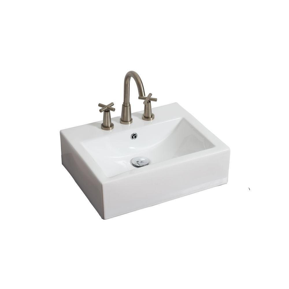 American Imaginations Wall-Mount Rectangular Ceramic Vessel Sink in White