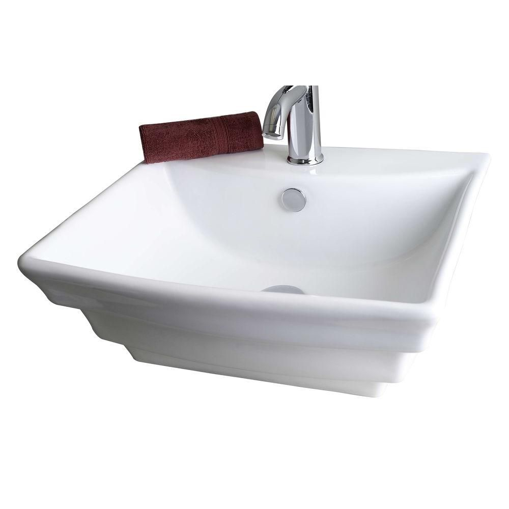 American Imaginations 19.75-in. W x 17-in. D Wall Mount Rectangle Vessel In White Color For Single Hole Faucet