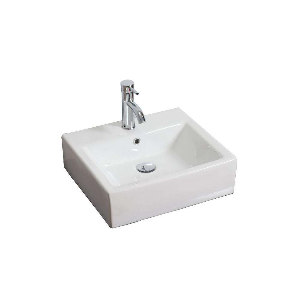 Wall-Mount Square Ceramic Vessel Sink in White