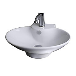 American Imaginations 22.75-in. W x 17.25-in. D Wall Mount Oval Vessel In White Color For Single Hole Faucet