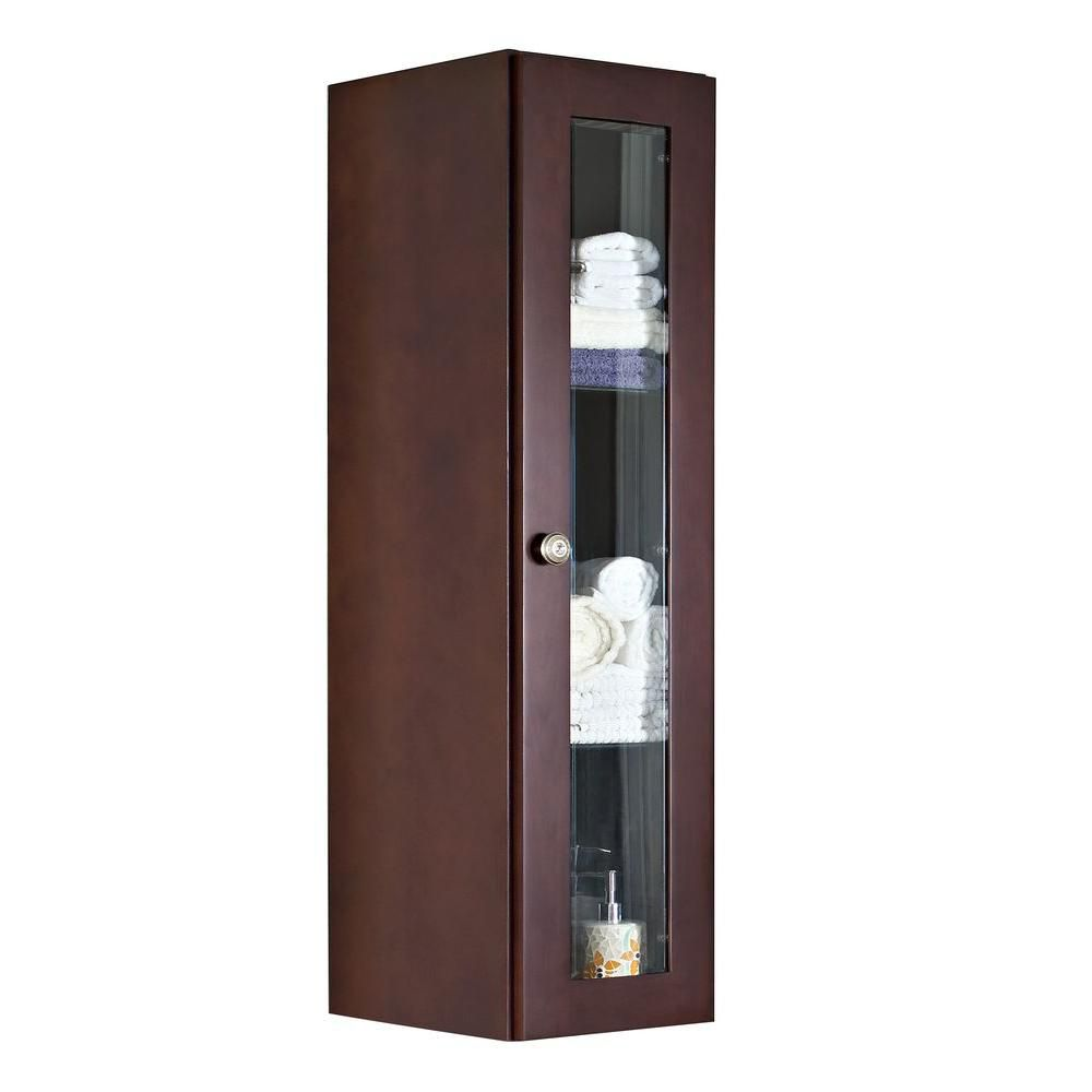 American Imaginations 12 Inch W x 48 Inch H Solid Cherry Wood Reversible Door Wall Linen Cabinet in Coffee Finish