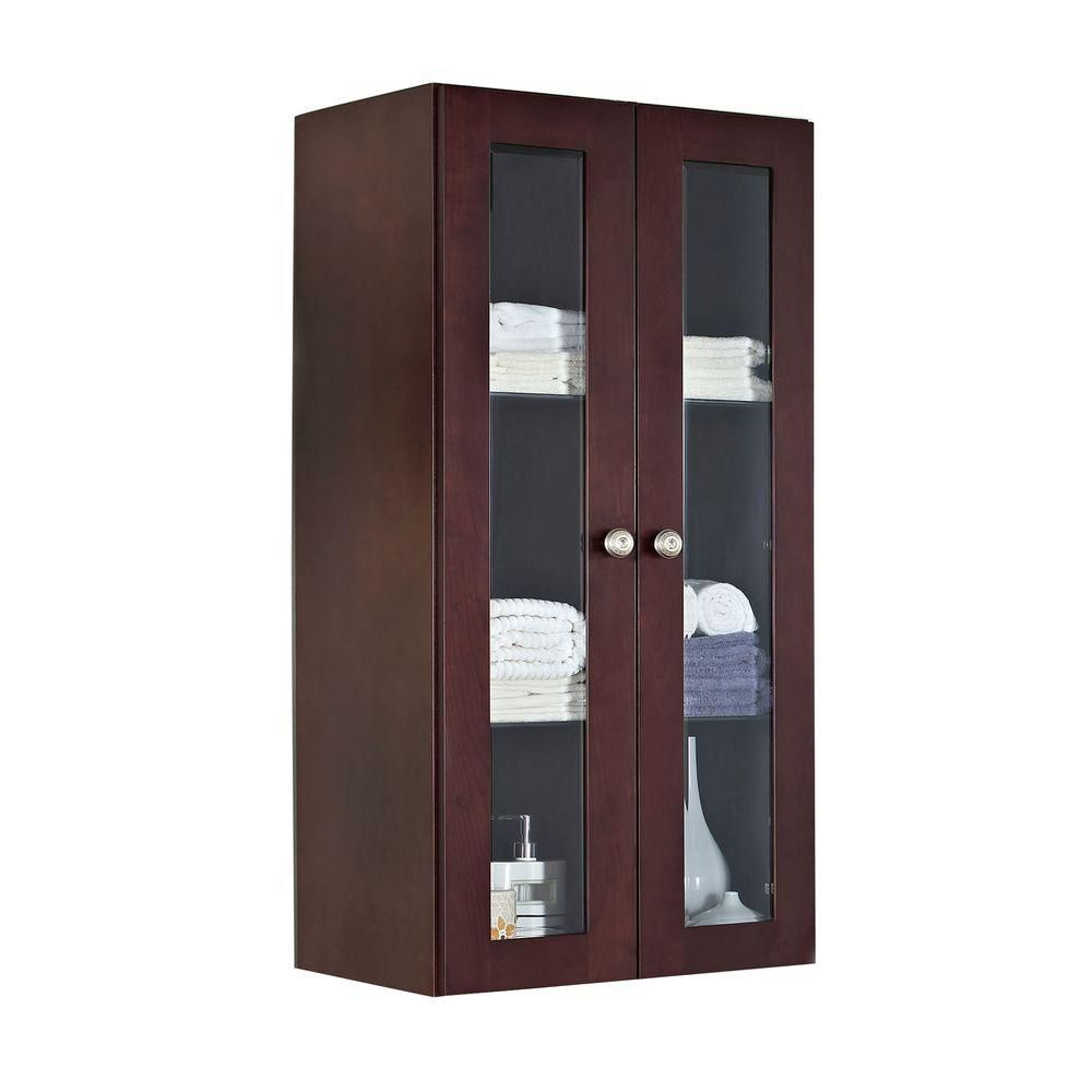 American Imaginations 24 Inch W x 48 Inch H Solid Cherry Wood Reversible Door Wall Linen Cabinet in Coffee Finish