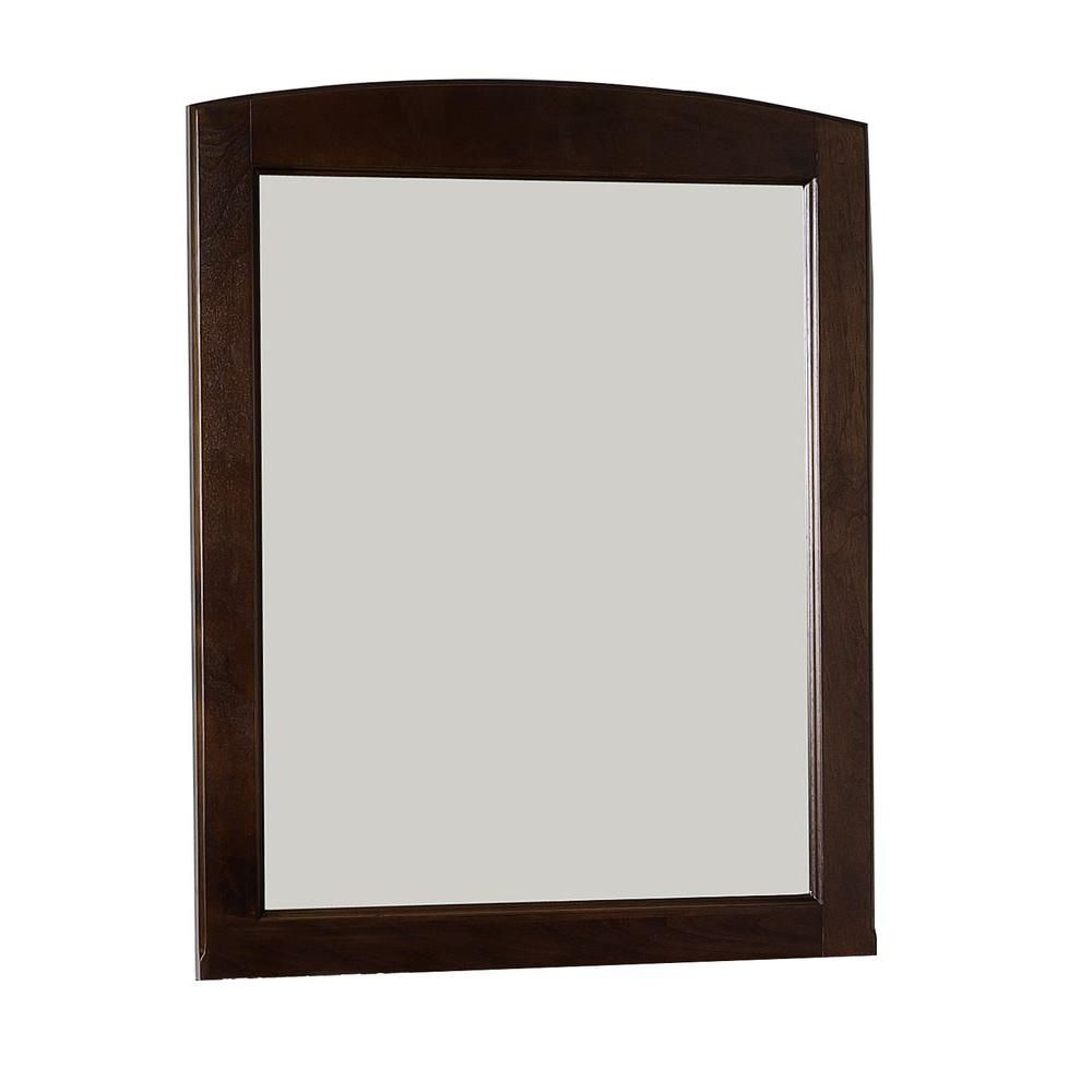 24 Inch W x 32 Inch H Rectangle Wood Framed Mirror Without Shelf in Walnut Finish