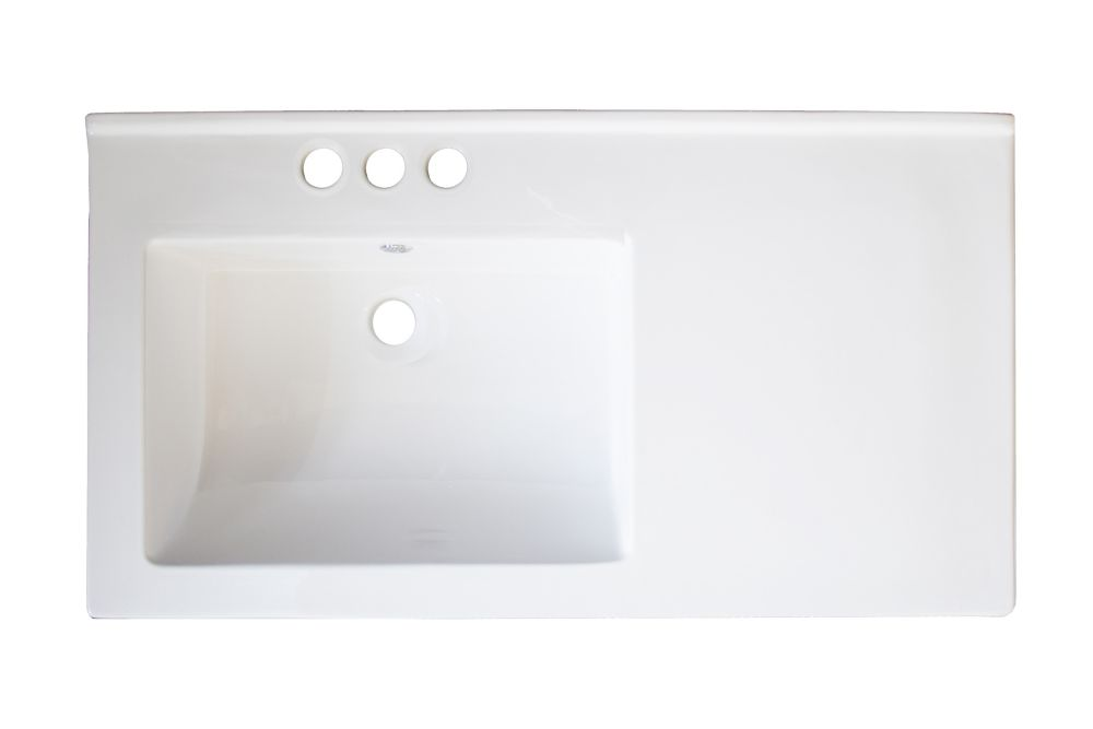 34 Inch W x 18 Inch D Wall Mount White Ceramic Top with 4 Inch o.c. Faucet Drilling AI-710 in Canada