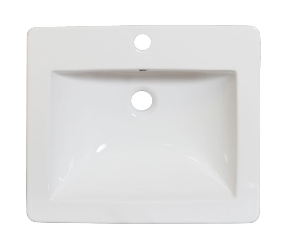 American Imaginations 21-inch W x 18-inch D Ceramic Top for Single Hole Faucet in White