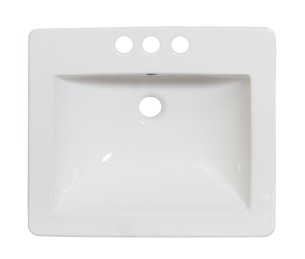 American Imaginations 21-inch W x 18-inch D Ceramic Top for 4-inch O.C. Faucet in White