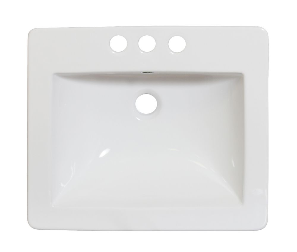 21 po. W x 18 po. D Céramique blanche Top Avec 8 po. oc robinet forage