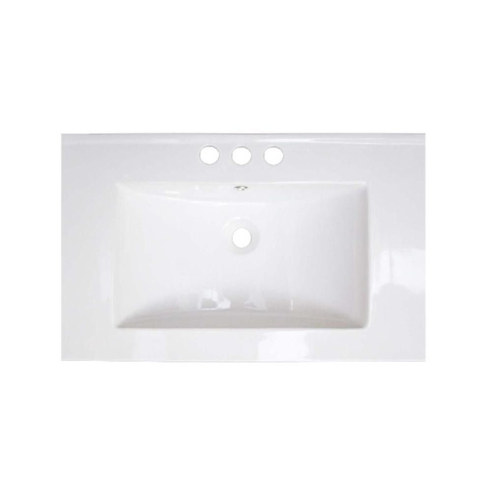 28-inch W x 18-inch D Ceramic Top for 4-inch O.C. Faucet in White