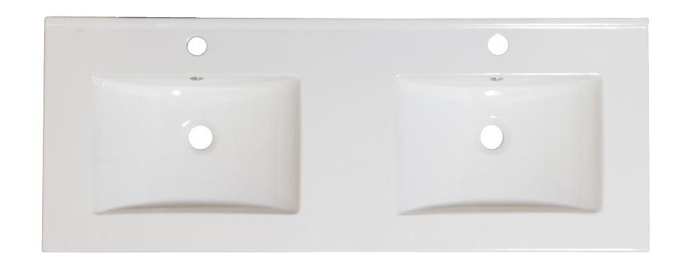 48 po. W x 18.5 po. D Double évier Céramique blanche Top Pour robinet seul trou