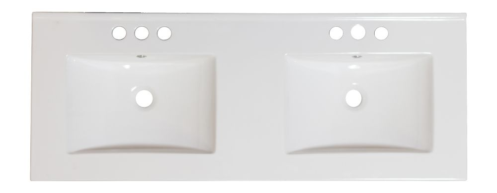 48-inch W x 18 1/2-inch D Double Sink Ceramic Top for 4-inch O.C. Faucet in White