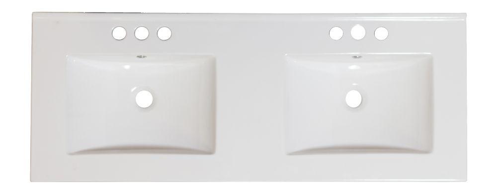 48 po. W x 18.5 po. D Double évier Céramique blanche Top Pour 8 po. Robinet oc
