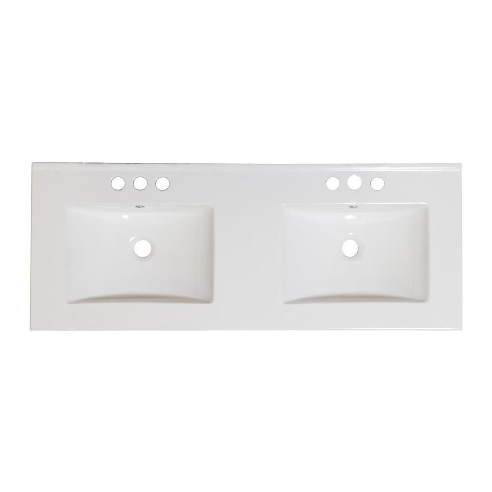 60-inch W x 18 1/2-inch D Double Sink Ceramic Top for 8-inch O.C. Faucet in White