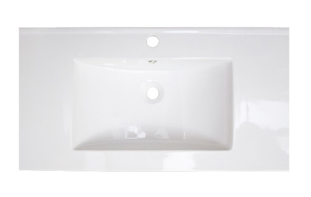 36-inch W x 18-inch D Ceramic Top with Single Hole Installation in White