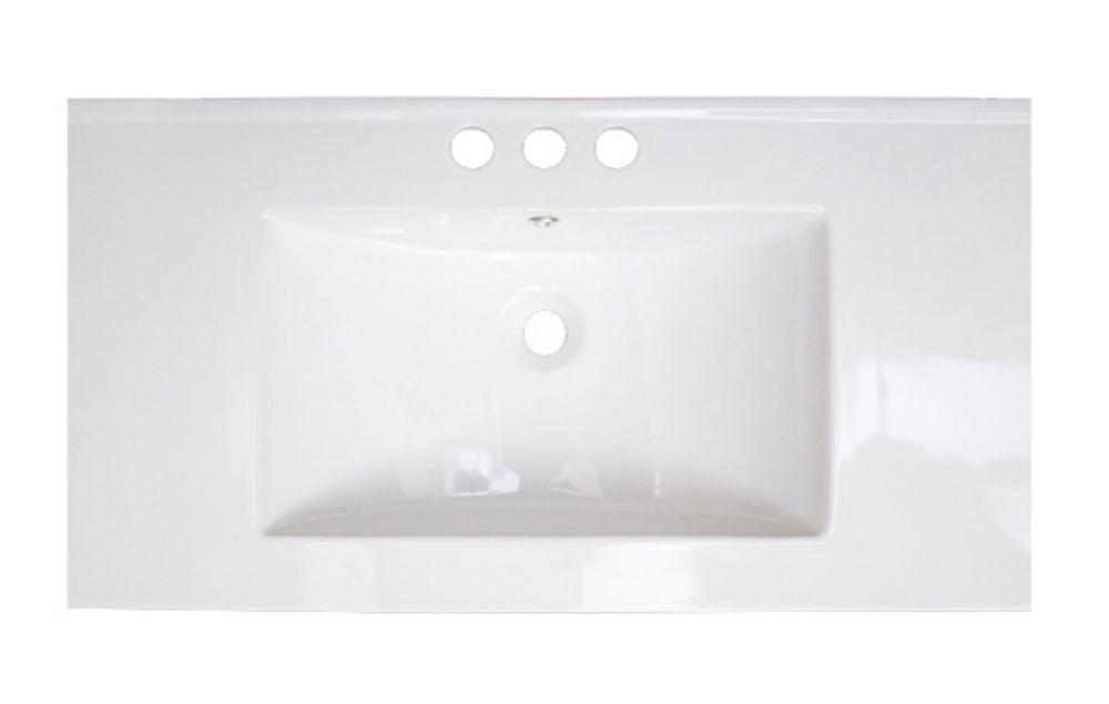 36 po. W x 18 po. D Céramique blanche Top Avec 4 po. oc robinet forage