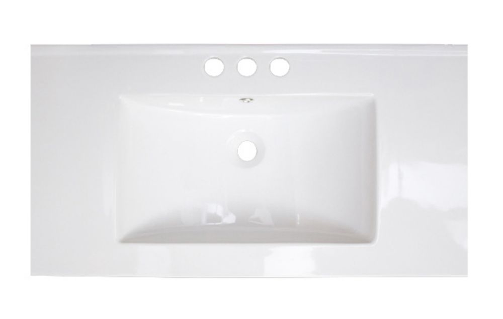 American Imaginations 36-inch W x 18-inch D Ceramic Top with 8-inch O.C. Faucet Installation in White
