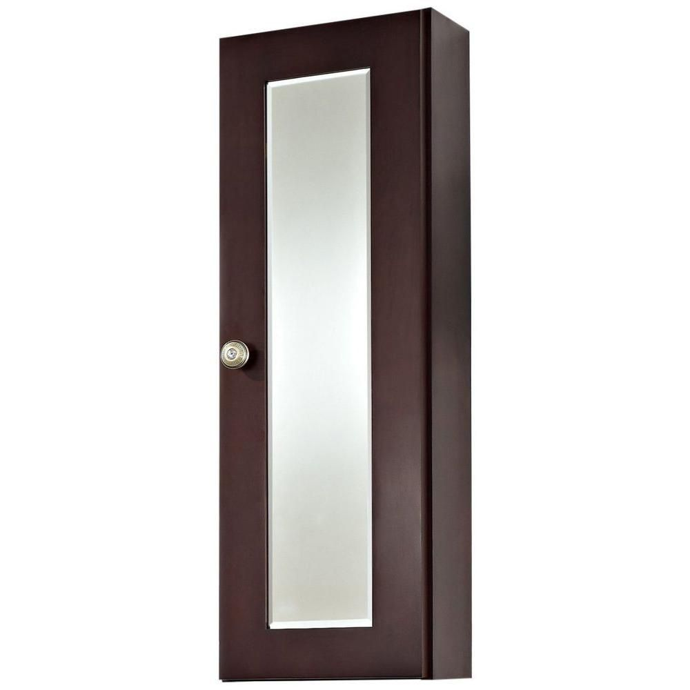 12 Inch W x 36 Inch H Cherry Wood Reversible Door Medicine Cabinet in Coffee Finish