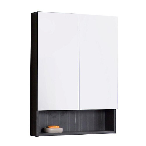 24 Inch W x 32 Inch H Solid Plywood Medicine Cabinet with Soft-close Doors In Dawn Grey Melamine