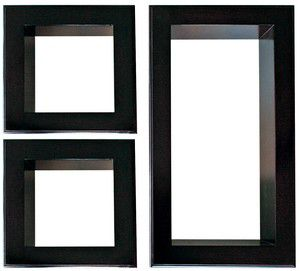 Framed Cubbi Set of 3 Wall shelf-Black wood
