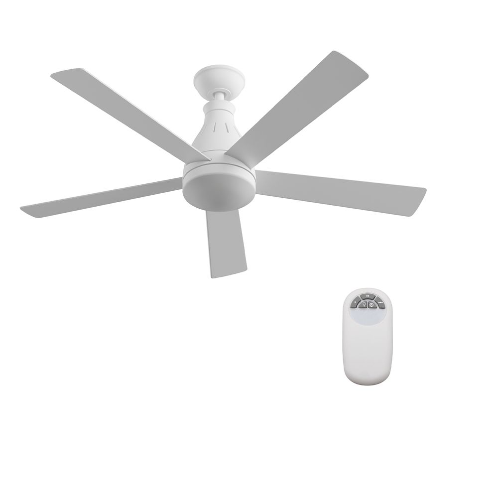 Cobram 48-inch 5-Blade LED White Indoor Ceiling Fan with Light Kit, Reversible Blades, and Remote
