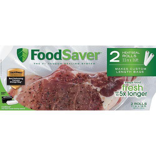Foodsaver Sachets de congélation à soudure 11 po x 16 pi - 2 rouleaux