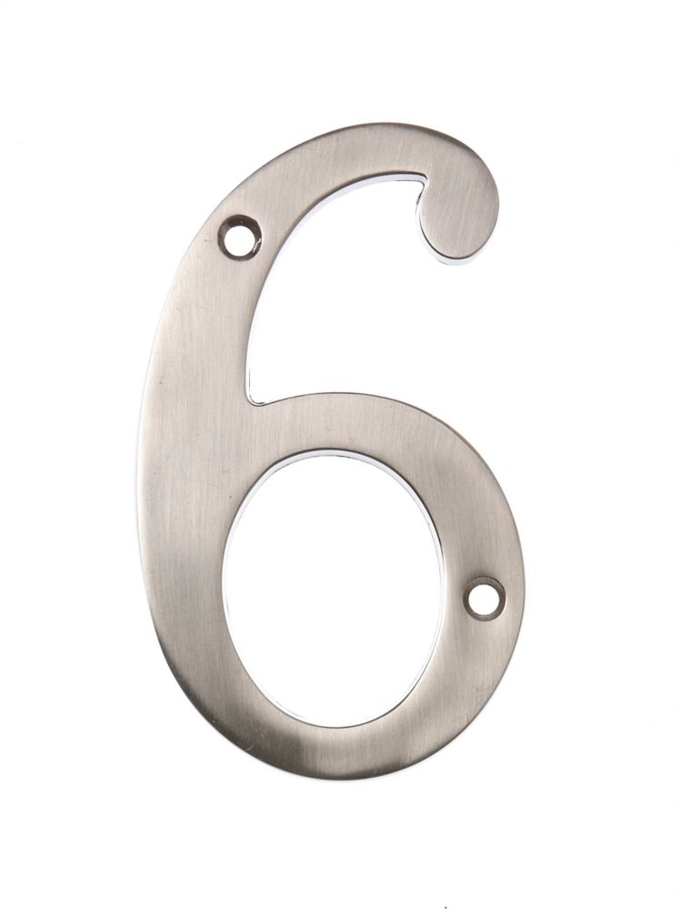 6 Inch Satin Nickel House Number 6
