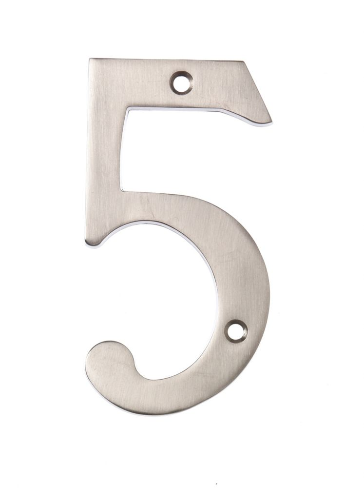 6 Inch Satin Nickel House Number 5