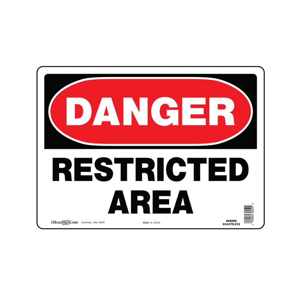 Hillman 10-inch x 14-inch Aluminum Sign Danger Restricted