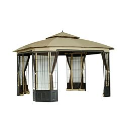 Hampton Bay Bethany 10 ft. x 12 ft. Soft Top Gazebo with Vented Canopy
