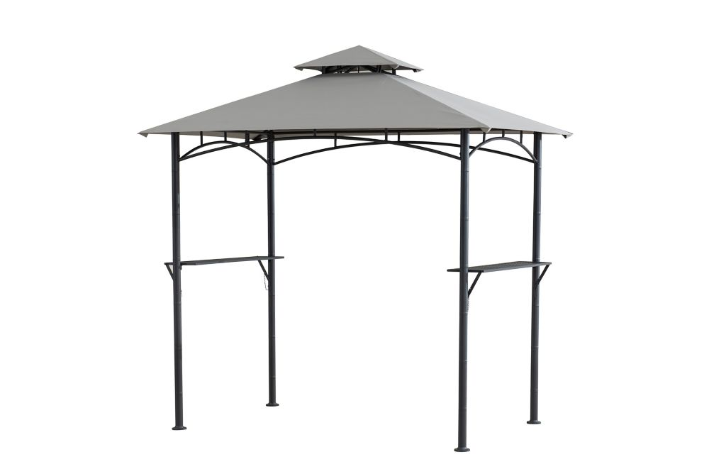 Hampton bay tiki 8 ft x 5 ft grill gazebo with built in for Built in gazebo