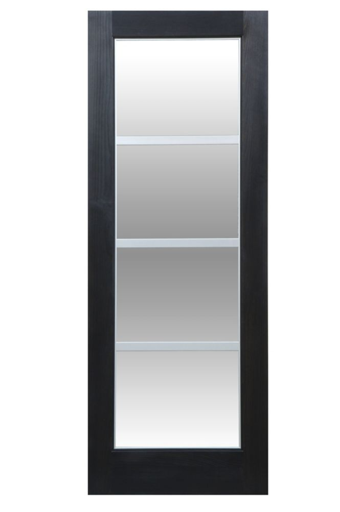 30-inch x 80-inch LOFT Clear Pine 4 Lite French Door with Clear Glass and Flat Silver Aluminum Gr...