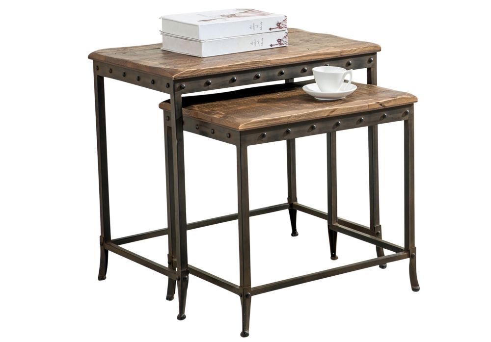 Trenton-2pc Nesting Table-Distressed Pine 513-244 in Canada