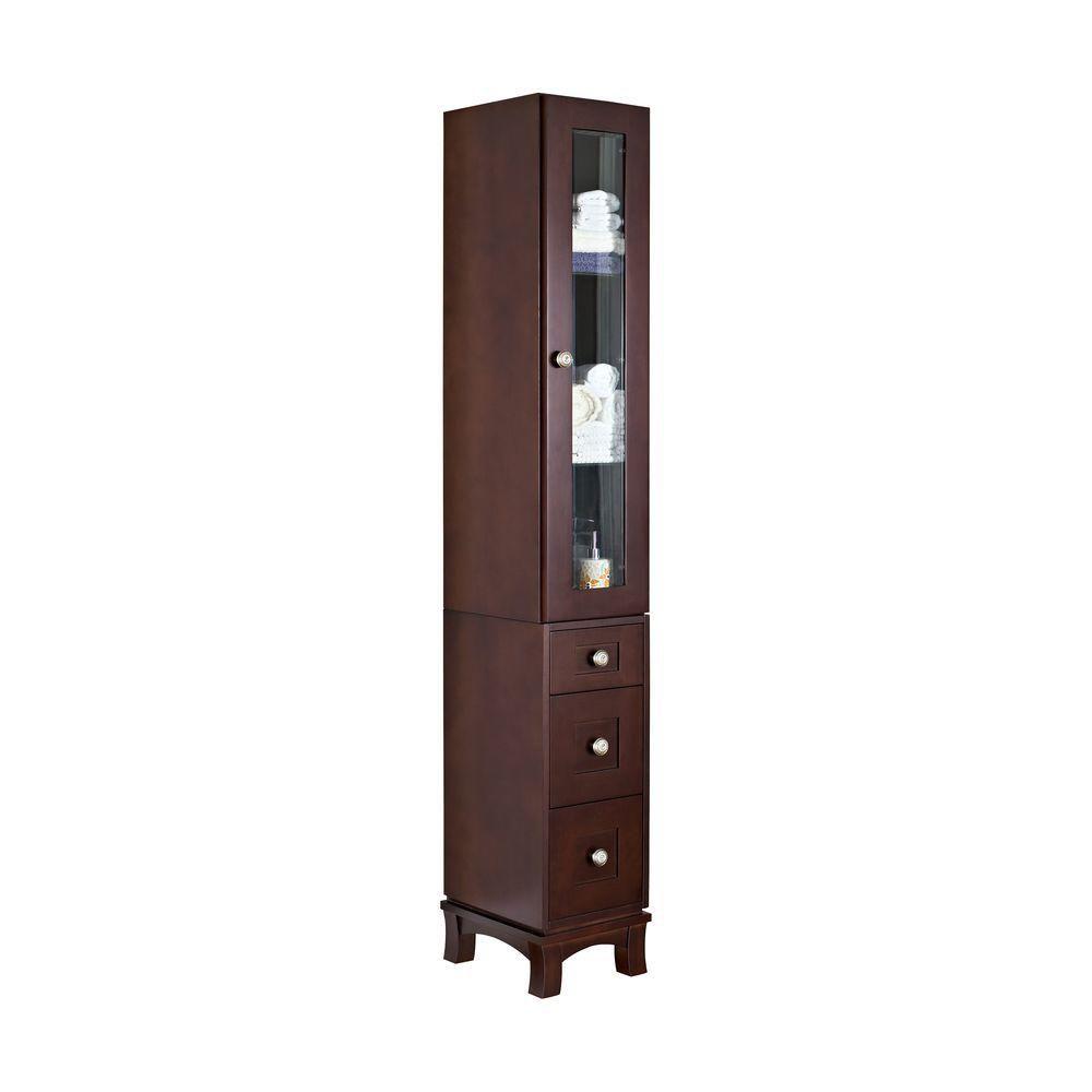 12 po. W massif en bois de cerisier Tour Linge Avec Soft-close porte et tiroirs en finition café