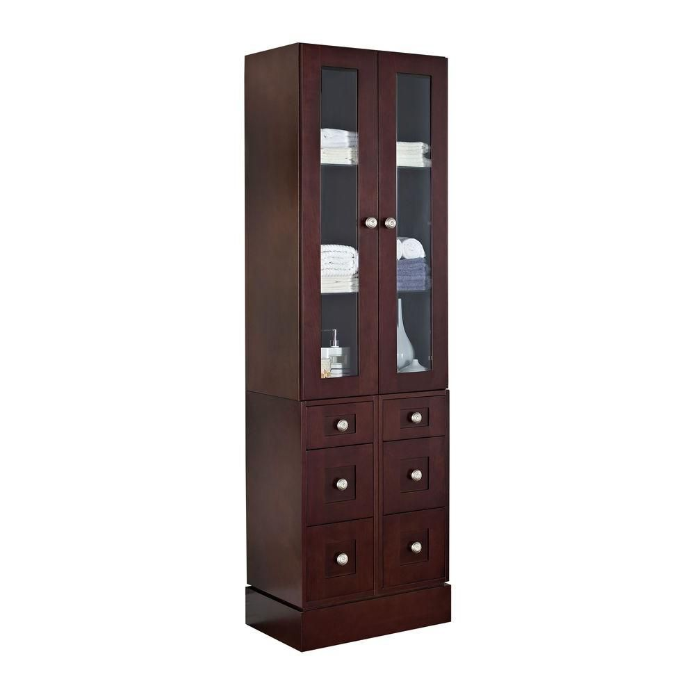 American Imaginations 24 Inch W Solid Cherry Wood Linen Tower with Soft-close Doors and Drawers in Coffee Finish