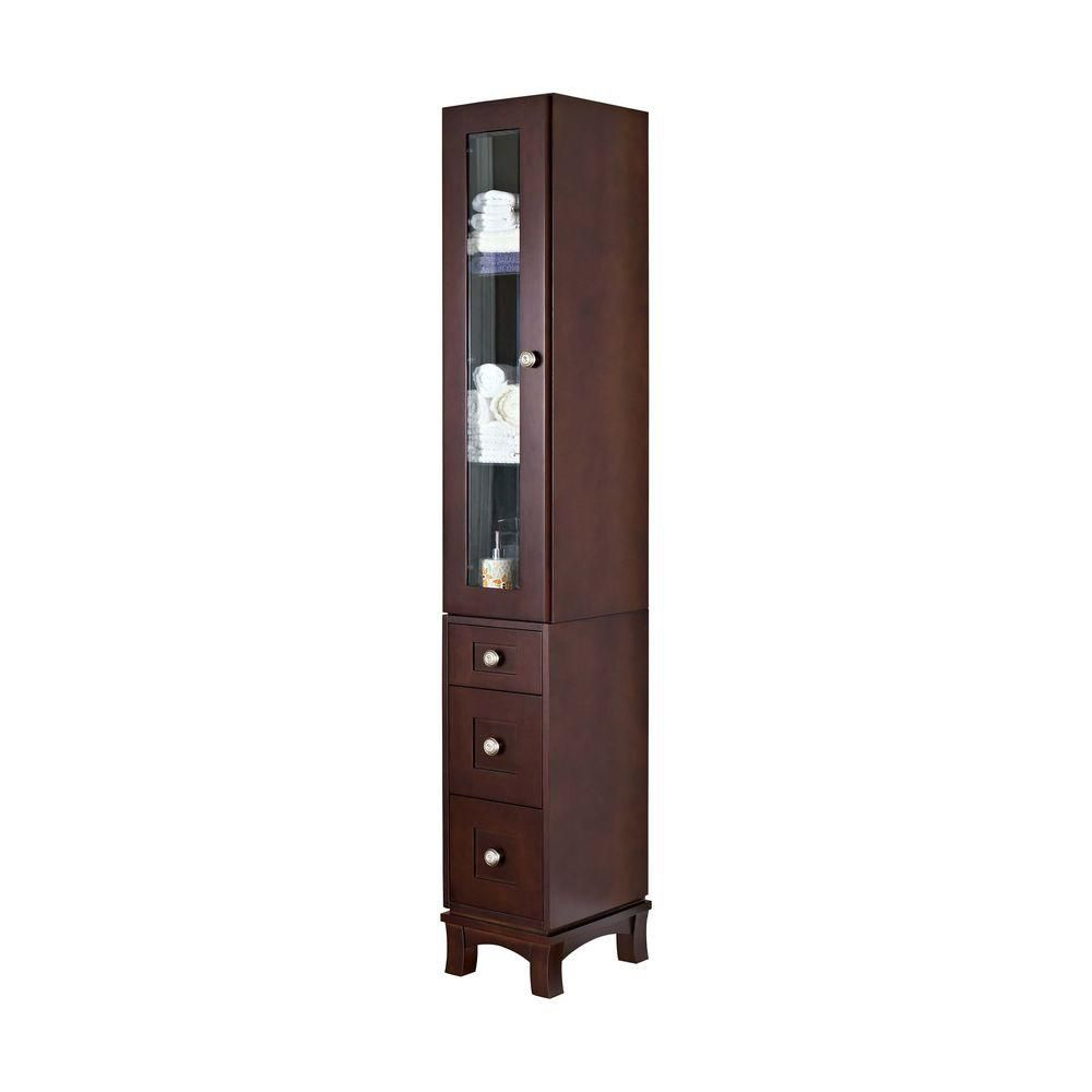 American Imaginations 12 Inch W Solid Cherry Wood Linen Tower with Soft-close Door and Drawers in Coffee Finish