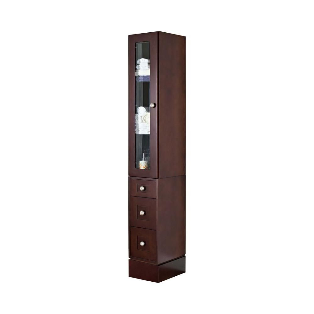 12 Inch W Solid Cherry Wood Linen Tower with Soft-close Door and Drawers in Coffee Finish