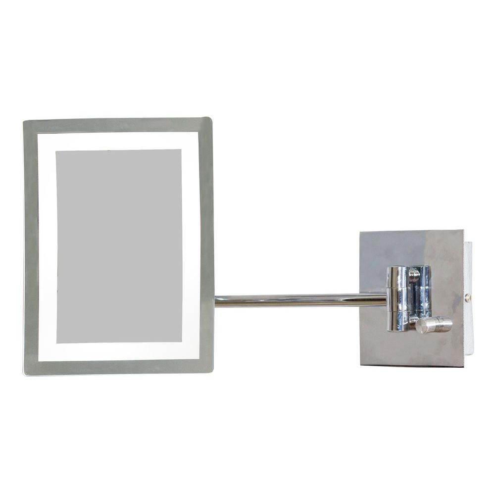 6.25 Inch W x 8.5 Inch H Rectangle LED Mirror with Light Dimmer and 3x Zoom