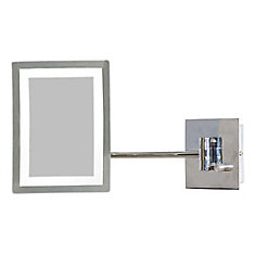 17.44-inch W Rectangular LED-Lit Wall Mount Magnifying Mirror in Chrome