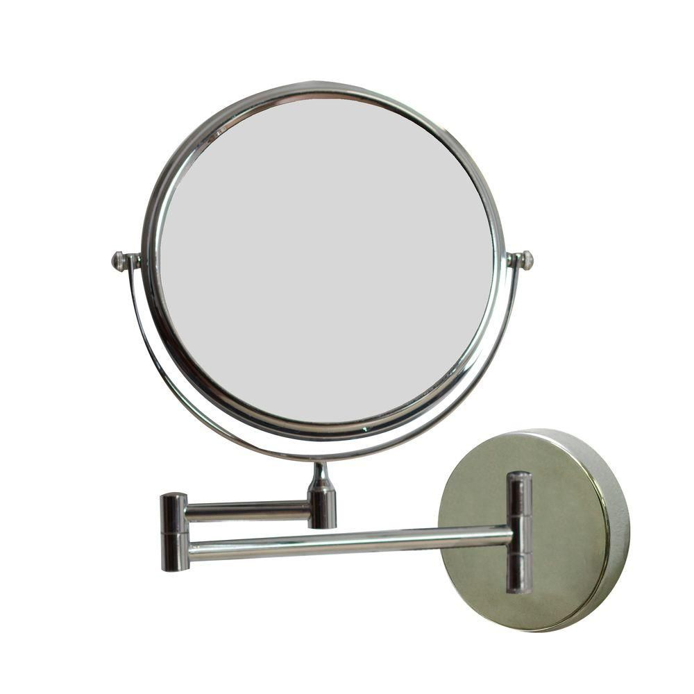 8 Inch W Round Chrome Wall Mount Magnifying Makeup Mirror with Dual 1x/5x Zoom