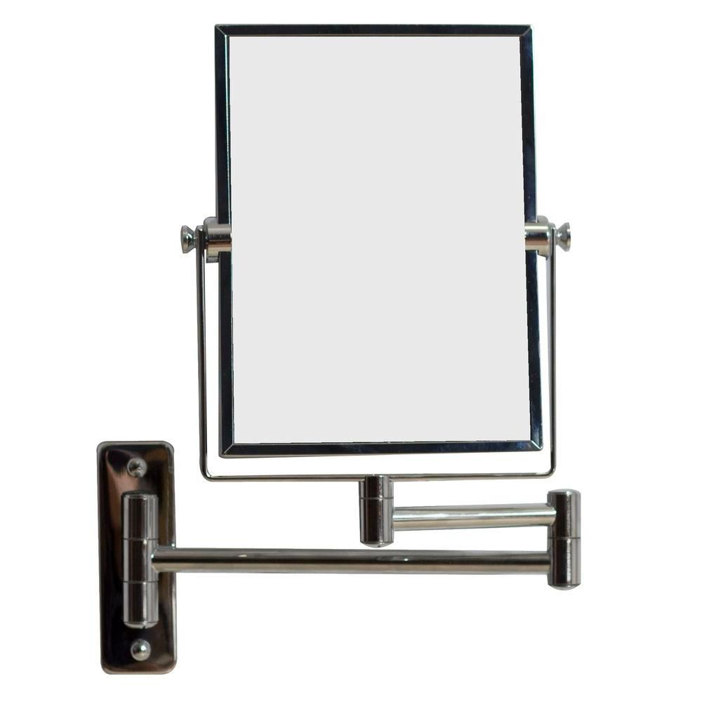 5 po. W x 13 po. Mont H Rectangle Chrome mur Miroir grossissant de maquillage avec double 1x/5x Z...