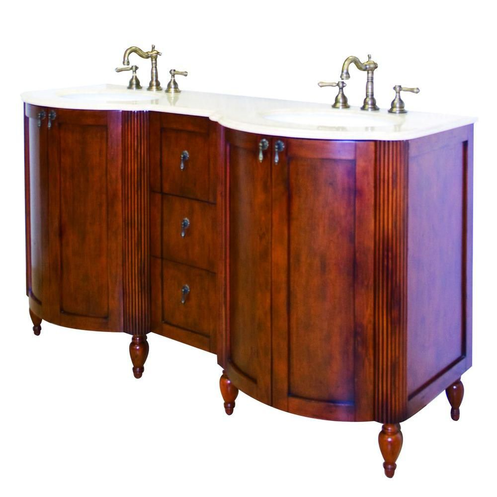 59-inch W Solid Wood Vanity Base in Antique Cherry Finish