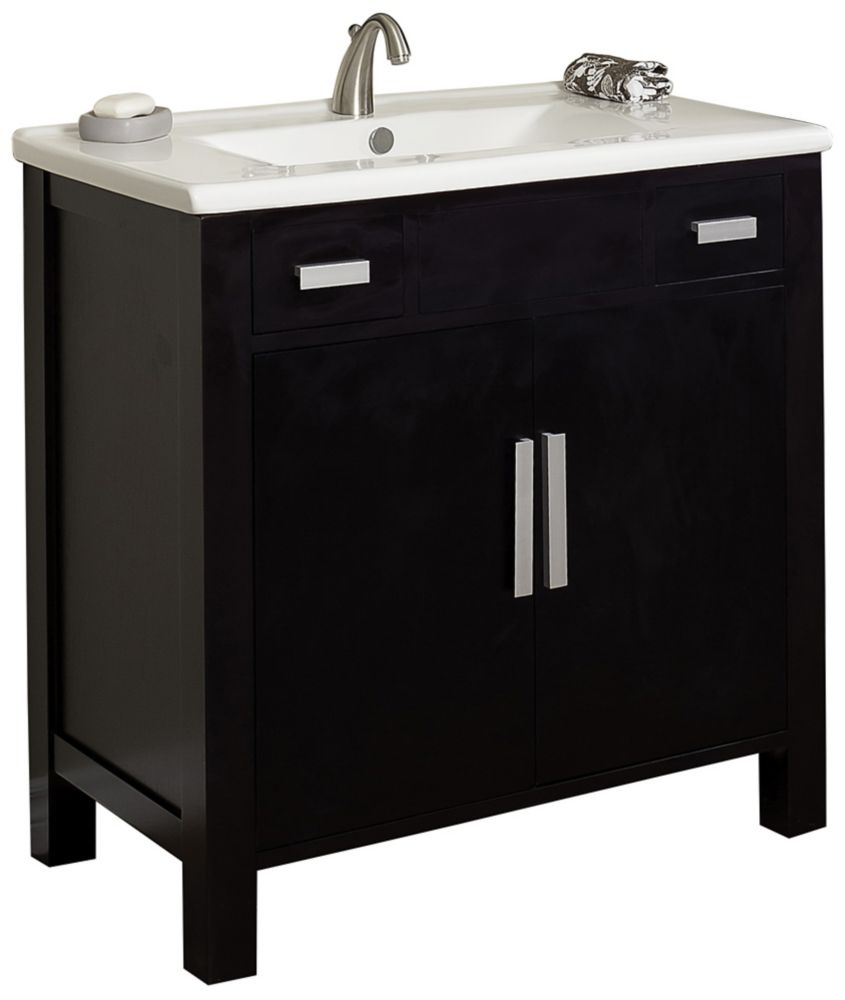 36 Inch W X 20 Inch D Vanity Set With Biscuit Ceramic Top For 8 Inch O C Faucet In Dark