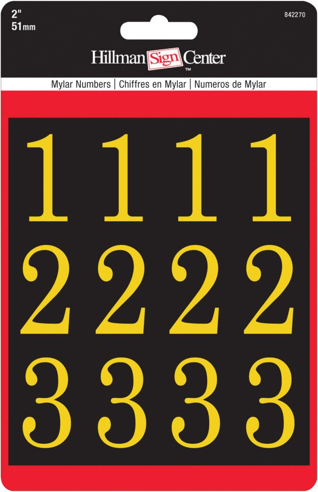 Hillman 2 Inch Gold & Black Packaged Numbers