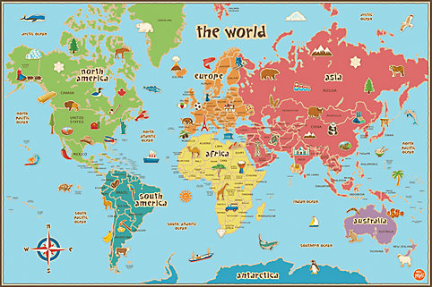 Wallpops kids world dry erase map decal the home depot canada gumiabroncs Images