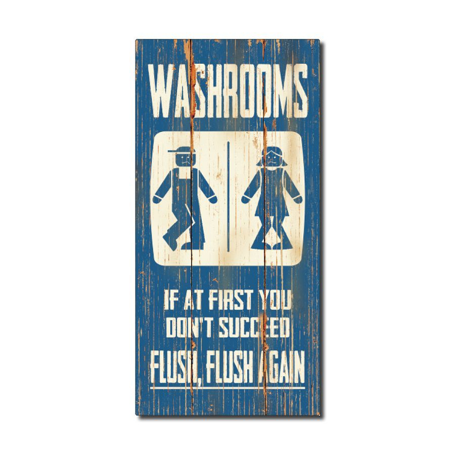 Rustic Wood Sign - Washrooms