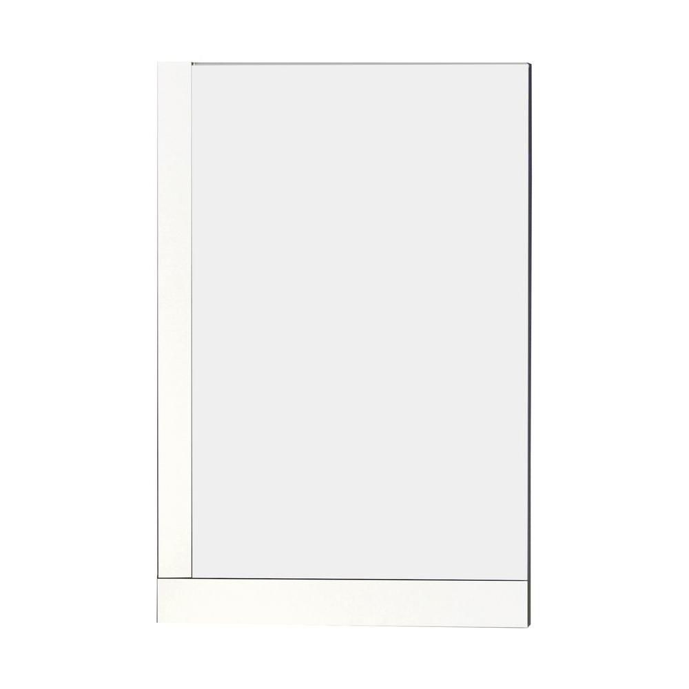 24 Inch W x 32 Inch H Solid Plywood Mirror Finished with Modern Style Melamine in Glossy White Fi...
